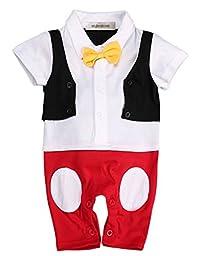 StylesILove Baby Boy 3D Bowtie Mickey Inspired Photo Prop Romper Onesie (90/12-18 Months)