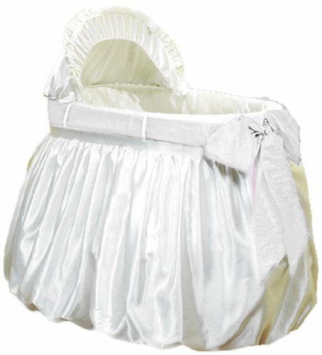 Baby Doll Shantung Bubble and Crushed Belt Bassinet Bedding, Ecru