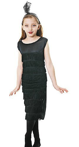 Henbrandt Girls Black Flapper With Tassles - Small