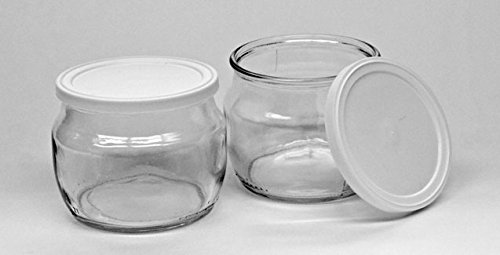 The Dairy Shoppe Glass Yogurt Jars with lid Half Pint (1)