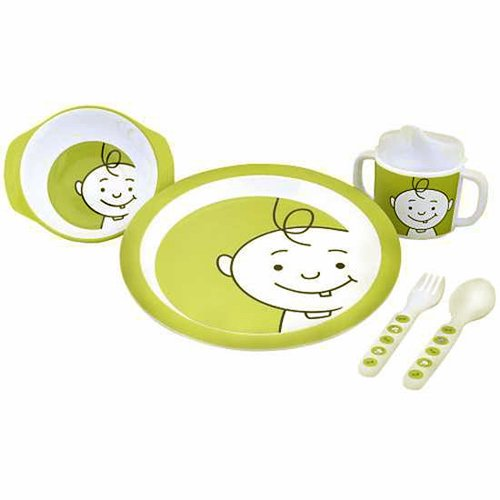 Sugarbooger Peek-A-Boo 5 Piece Feeding Set, Kiwi Green