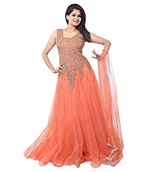 [ Great Indian Sale ] Pashimo Orange Color Net Fabric Gown For Women ( Gown _ party wear Gown )