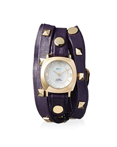 La Mer Collections Women's LMLW1010H Odyssey Purple/White Leather Watch