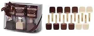 Hot Chocolate on a Stick - 12 Pack Variety Gift Box - Dark, Milk, Vanilla White Chocolate