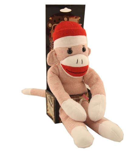 The Original Sock Monkey Pink Stuffed Animal Plush Knitted Toy Girl`s Doll