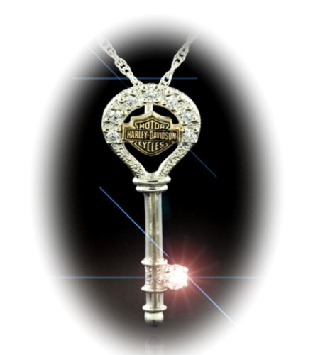 Harley-Davidson® Stamper® Sterling Silver and 10K Solid Gold Key Neclace. Eight Cubic Zirconias. HN7438CZ