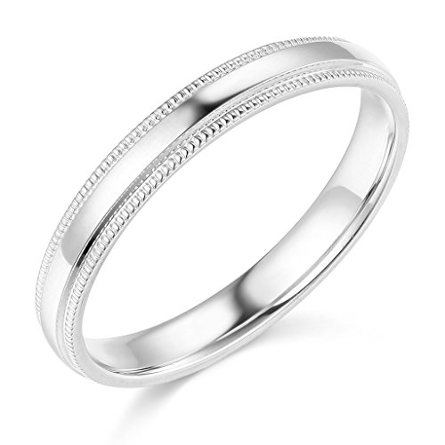 925-Sterling-Silver-Rhodium-Plated-3mm-COMFORT-FIT-Plain-Milgrain-Wedding-Band