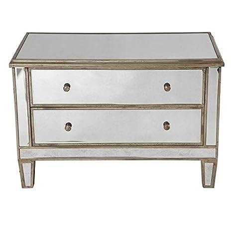 Commode 2 tiroirs Vénitien bois et miroir 91x48x61 cm patine mordorée Coté Table