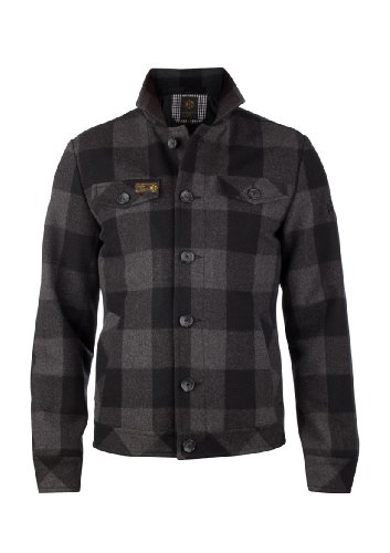 MENS BLACK & GREY WOOL BLEND LUMBER JACKET - SLIM FIT Chest 38