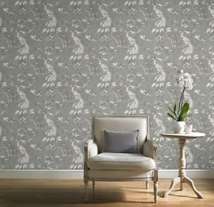 Gran Deco Paradise Bird Wallpaper - Silver from New A-Brend