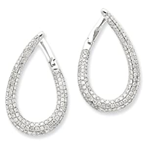 14k Gold White Gold Diamond Large Oval Loop Earrings