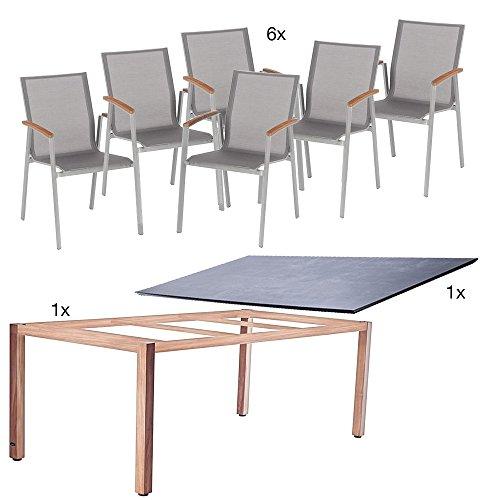 Tischgestell-210x100-cm-beton-mit-Top-Stapelsessel-graphit-Bezug-silbergrau