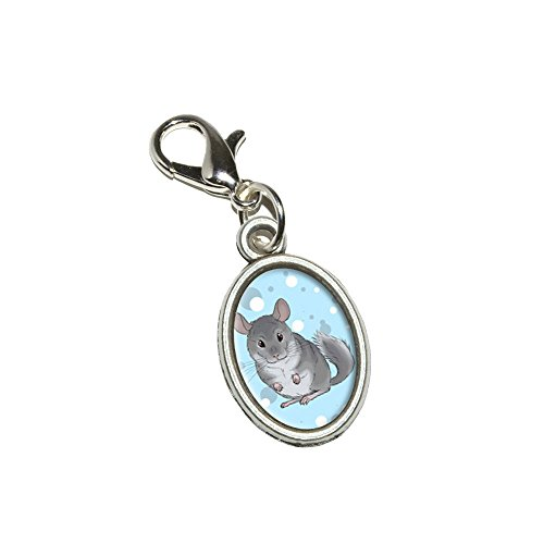 Graphics and More Chinchilla - Cute Pet Antiqued Bracelet Pendant Zipper Pull Oval Charm with Lobster Clasp