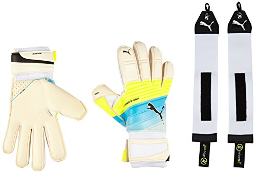 Puma - Guanti da portiere evoPOWER Grip 1.3 RC, Unisex, Torwarthandschuhe Evopower Grip 1.3 RC, White/Atomic Blue/Safety Yellow, 7.5