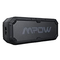 Mpow Armor Plus Bluetooth 4.0 Portable Ipx5 Waterproof Wireless Speaker w/ Enhanced Bass, Dual 8w Drivers, 5200mah Power Bank, 22hs Playtime, Hands-free Calling for Outdoor Activities,Black