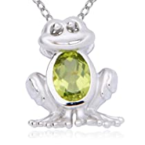 Sterling Silver Genuine Peridot Frog Pendant Necklace 18