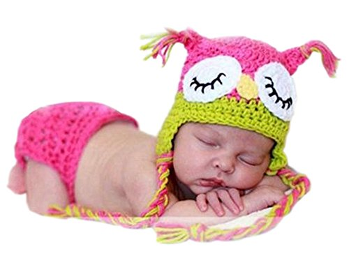 Pinbo Newborn Baby Photography Prop Crochet Knitted Owl Hat Diaper