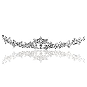 Pixnor Wedding Prom Sparkly Bridal Crown Rhinestone Crystal Decor Headband Veil Tiara