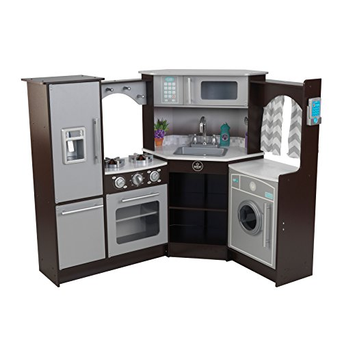 KidKraft Ultimate Corner Play Kitchen with Lights & Sounds, Brown/White (Ultimate Play Kitchen compare prices)