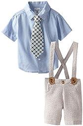 Mud Pie Baby-Boys Newborn Seersucker 3 Piece Set With Tie, Multi-Colored, 6-9 Months