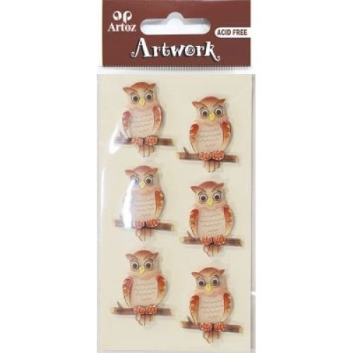 Owl On Branch Embellishment Scrapbooking Card Topper Stickers