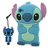 DD(TM) Cartoon Cute Lovely Blue Stitch & Lilo Movable Ear Soft Silicone Case Cover Protective Skin for Apple iPhone 5C + 3D Stitch Stylus Touch Pen