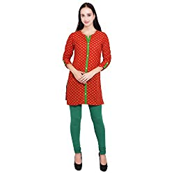 Vasudha Women's Cotton Straight Kurta (605RED_XL, Red and Green, X-Large)