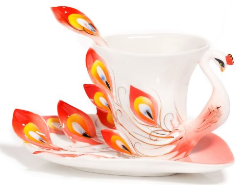 Hand Crafted Porcelain Enamel Graceful Peacock Tea Coffee Cup Set With Saucer And Spoon (Red)