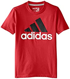 adidas Big Boys 30S Short Sleeve Tee ADI Logo, Light Scarlet/Black, Medium
