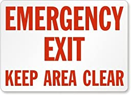 Emergency Exit Keep Area Clear Label, 14\