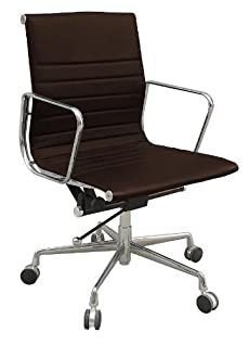 CHARLES EAMES MANAGEMENT DARK BROWN LEATHER OFFICE DESK STUDY CHAIR
