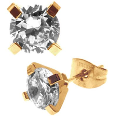 Inox Jewelry 316L Stainless Steel Gold Plated Cubic Zirconia Stud Earrings