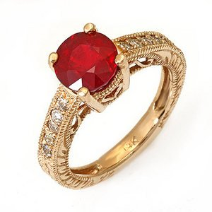 2.6 Ct Natural Ruby and Diamond Ring 14k Gold