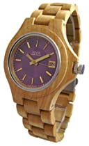 Tense Maple Wood Mens Round Purple Metallic Dial Watch G4302M - P/G