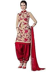 pakiza design new red creme chanderi cotton festival party wear patiala suit dress material