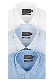 3 Pack Easy Care Short Sleeve Plain and Gingham Shirts [T11-2054W-S]