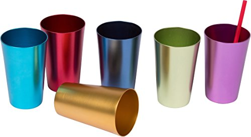 Trademark Innovations 6 Cup Retro Aluminum Tumblers, 14 oz, Multicolor (Aluminum Cups compare prices)
