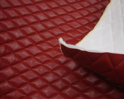 Red Faux Leather Quilted Vinyl Fabric with 3/8