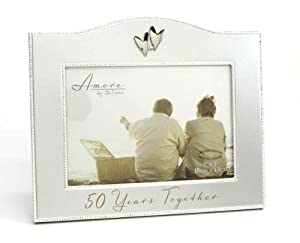 50 Years Together 50th Anniversary 5x7 inch Photo Frame - Made of Stainless Steel - Amore by Juliana