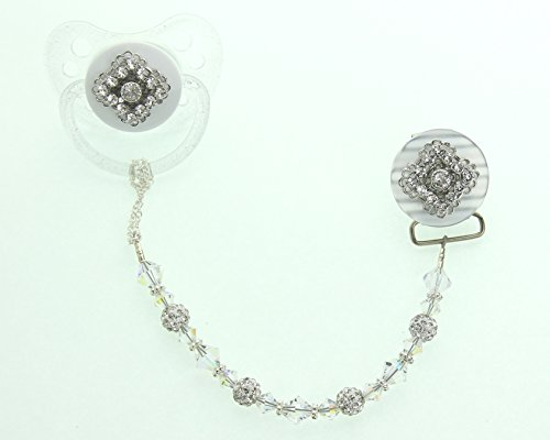 Clear Swarovski Filigree Gift Set Pacifier and Clip (GSSHC-A-6M)