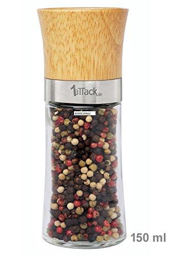 Moulin à poivre/sel/épices vide avec broyeur en céramique vendu vide dans un emballage cadeau 150 ml hauteur 15,5 cm-bois