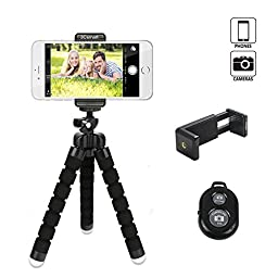 3Csmart Octopus Style Portable and adjustable Tripod Stand Holder for iPhone, Cellphone ,Camera with Universal Clip and Remote (Black)