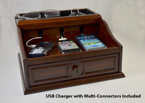 Charging Station Mahogany Wood Finish for iPhone