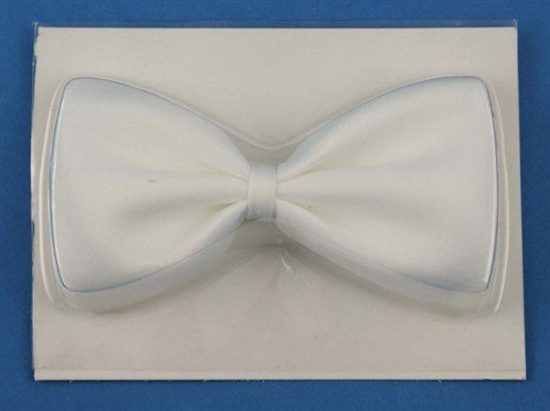 Adjustable 11cm plain white bow tie. Ideal for special occasions or fancy dress.