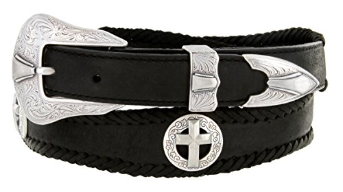 Silver Christian Cross Conchos Western Leather Scalloped Belt Black 34