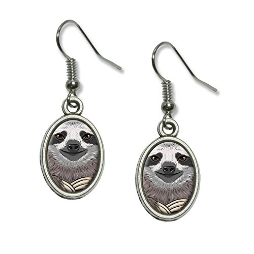 Sloth Face Novelty Dangling Drop Oval Charm Earrings