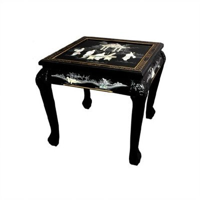 Perfect Oriental Furniture Fine Asian Decor 21.5 Inch Claw Foot Chinese Lacquer  Oriental End Table,