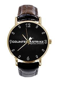 CS Go Logo Custom Women / Men Leather Band Metal Unique Sports Watch Unisex Fashion Gold Watch