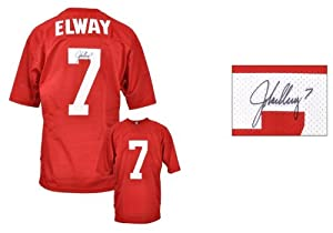 Autographed John Elway Jersey - Red Mesh Custom Memories - Mounted Memories Certified... by Sports+Memorabilia