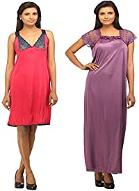 c57ef738f5 Buy Shararat Women s Satin Nightdress with Lacy Lingerie Set at best ...